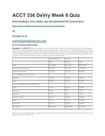 ACCT 336 DeVry Week 6 Quiz
