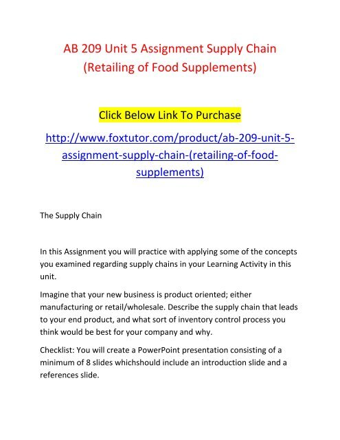 AB 209 Unit 5 Assignment Supply Chain (Retailing of Food