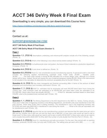 ACCT 346 DeVry Week 8 Final Exam