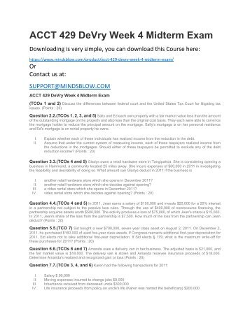 ACCT 429 DeVry Week 4 Midterm Exam