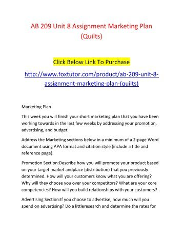 AB 209 Unit 8 Assignment Marketing Plan (Quilts)