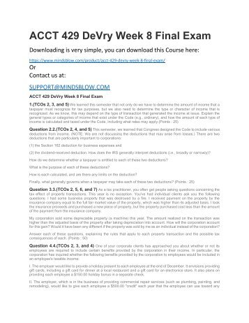 ACCT 429 DeVry Week 8 Final Exam