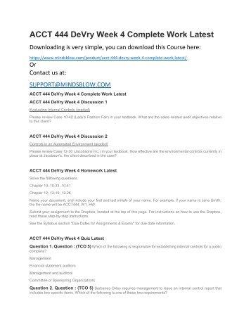 ACCT 444 DeVry Week 4 Complete Work Latest
