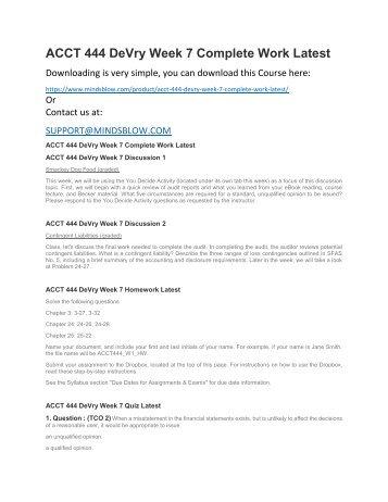 ACCT 444 DeVry Week 7 Complete Work Latest