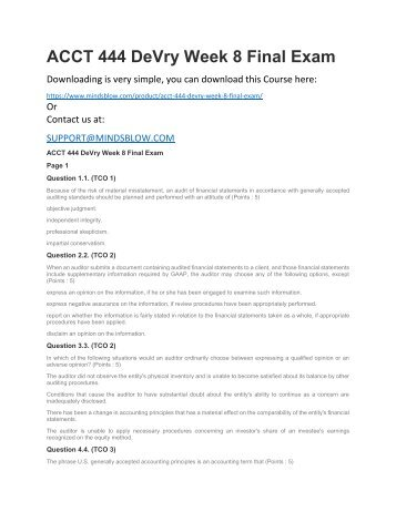 ACCT 444 DeVry Week 8 Final Exam
