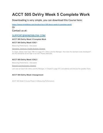 ACCT 505 DeVry Week 5 Complete Work