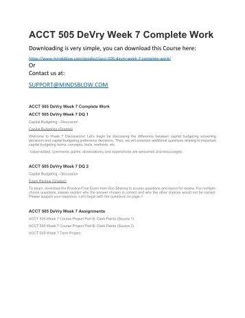 ACCT 505 DeVry Week 7 Complete Work