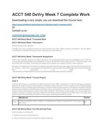 ACCT 540 DeVry Week 7 Complete Work
