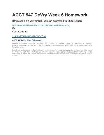 ACCT 547 DeVry Week 6 Homework