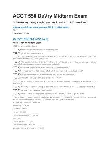 ACCT 550 DeVry Midterm Exam