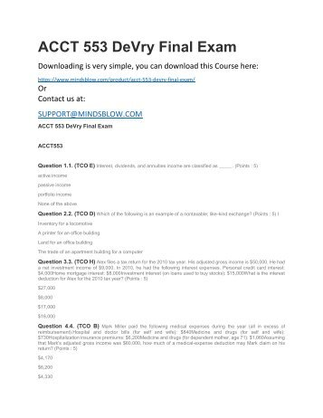 ACCT 553 DeVry Final Exam