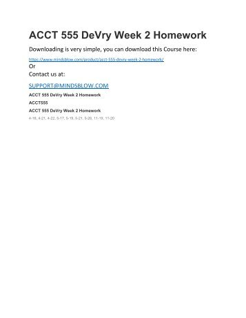 ACCT 555 DeVry Week 2 Homework