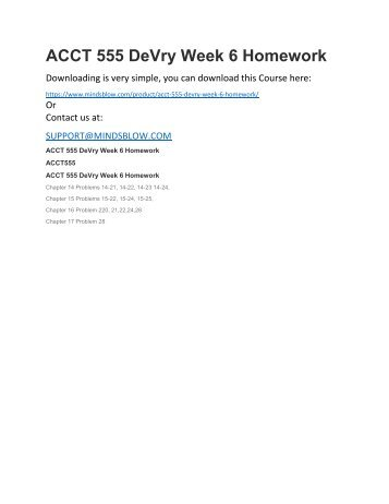 ACCT 555 DeVry Week 6 Homework