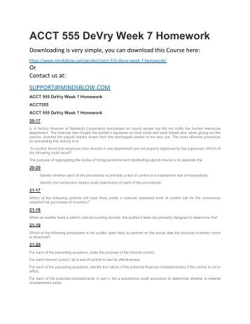 ACCT 555 DeVry Week 7 Homework