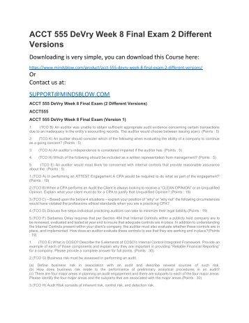 ACCT 555 DeVry Week 8 Final Exam 2 Different Versions
