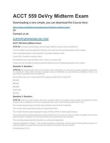 ACCT 559 DeVry Midterm Exam