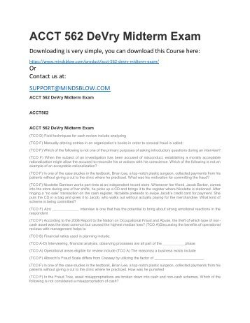 ACCT 562 DeVry Midterm Exam