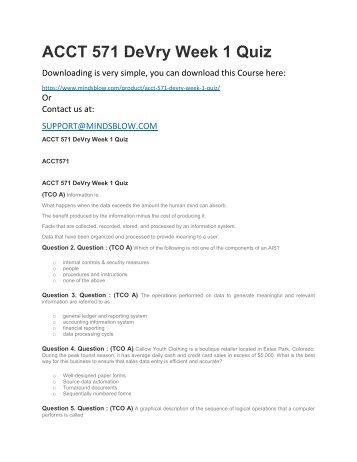 ACCT 571 DeVry Week 1 Quiz