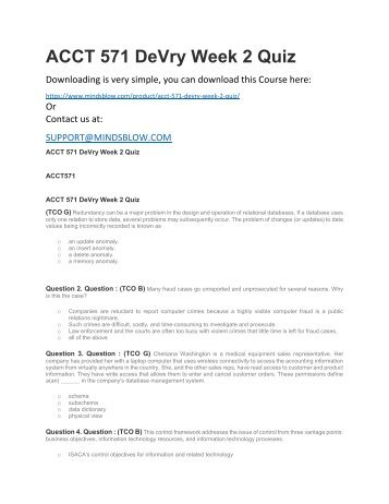 ACCT 571 DeVry Week 2 Quiz