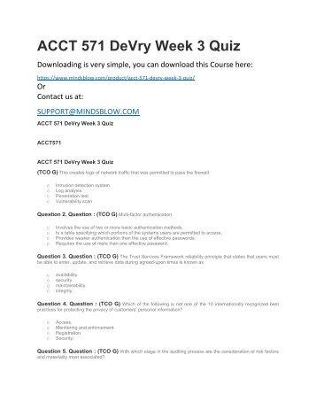 ACCT 571 DeVry Week 3 Quiz