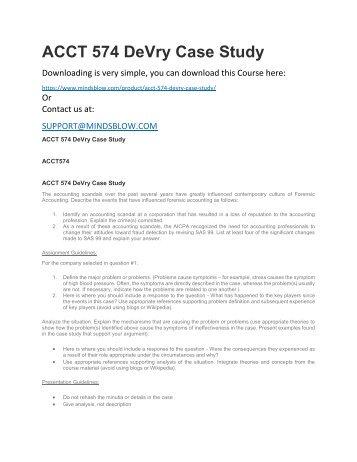 ACCT 574 DeVry Case Study