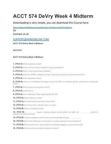 ACCT 574 DeVry Week 4 Midterm