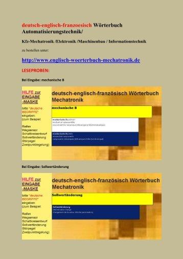 Uebersetzung deutsch-englisch-franzoesisch Woerterbuch Automation Kraftfahrzeugtechnik