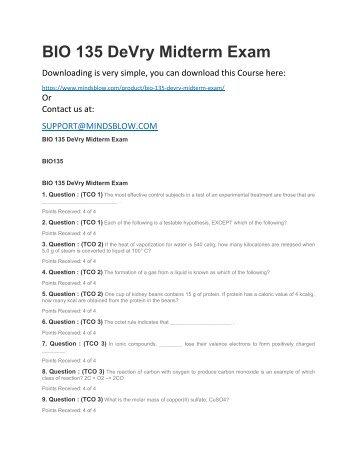 BIO 135 DeVry Midterm Exam