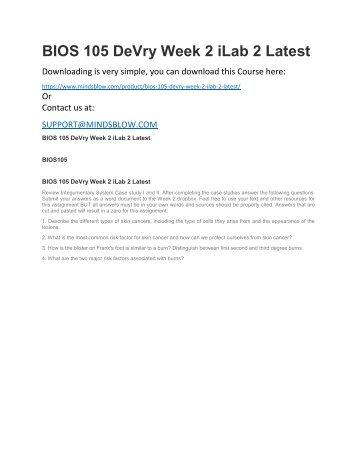 BIOS 105 DeVry Week 2 iLab 2 Latest