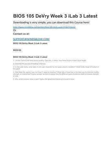 BIOS 105 DeVry Week 3 iLab 3 Latest