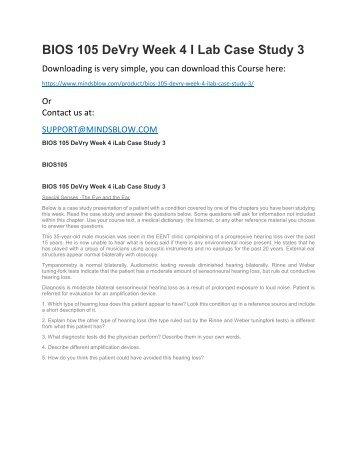 BIOS 105 DeVry Week 4 ILab Case Study 3