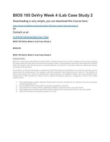 BIOS 105 DeVry Week 4 iLab Case Study 2