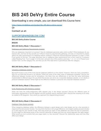 BIS 245 DeVry Entire Course