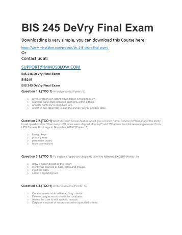 BIS 245 DeVry Final Exam