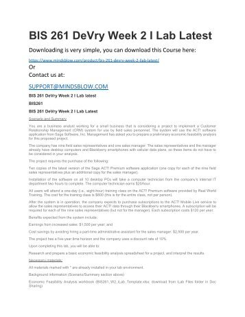 BIS 261 DeVry Week 2 I Lab Latest