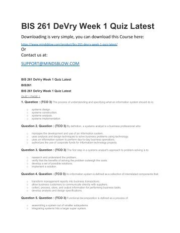 BIS 261 DeVry Week 1 Quiz Latest