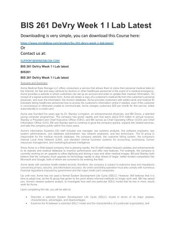 BIS 261 DeVry Week 1 I Lab Latest