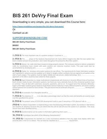 BIS 261 DeVry Final Exam