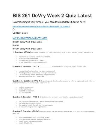 BIS 261 DeVry Week 2 Quiz Latest