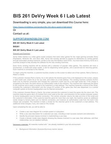 BIS 261 DeVry Week 6 I Lab Latest