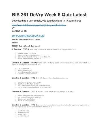 BIS 261 DeVry Week 6 Quiz Latest