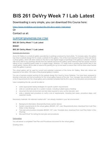 BIS 261 DeVry Week 7 I Lab Latest