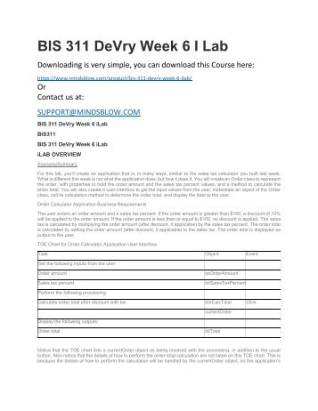 BIS 311 DeVry Week 6 I Lab