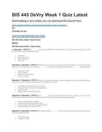 BIS 445 DeVry Week 1 Quiz Latest