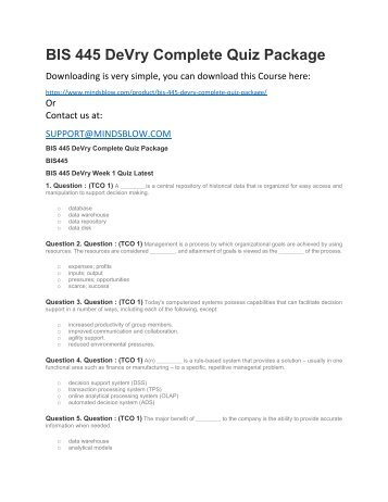 BIS 445 DeVry Complete Quiz Package