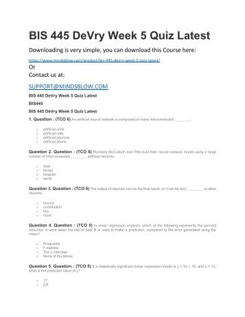 BIS 445 DeVry Week 5 Quiz Latest