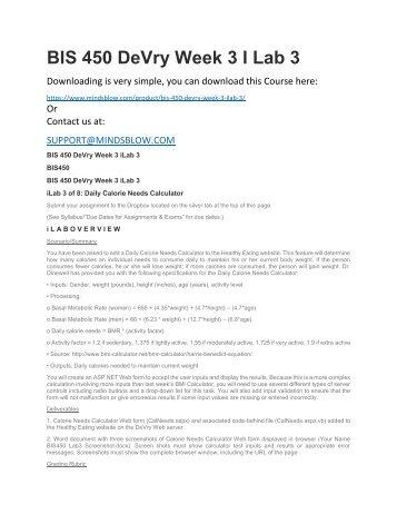 BIS 450 DeVry Week 3 I Lab 3