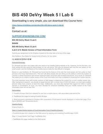 BIS 450 DeVry Week 5 I Lab 6