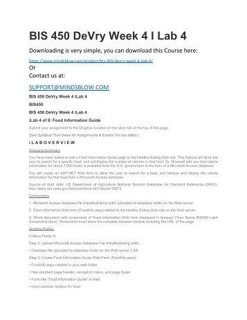 BIS 450 DeVry Week 4 I Lab 4
