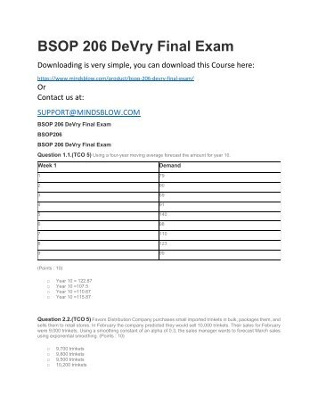 BSOP 206 DeVry Final Exam